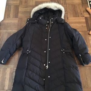 Bogner womens down coat with fur trimmed hood